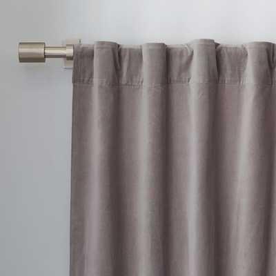 "Velvet Pole Pocket Curtain - Dove Gray - 96""L - West Elm"