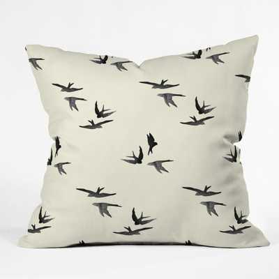 "BLACK BIRDS Throw Pillow - 20"" x 20"" - With Insert - Wander Print Co."