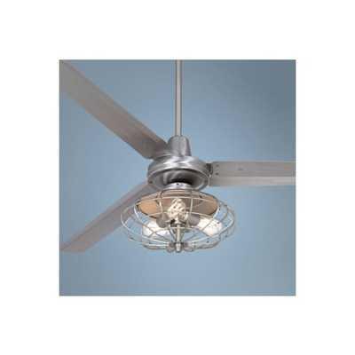 "Casa Vieja Turbina™ Ceiling Fan - 60"" Brushed Steel - Lamps Plus"