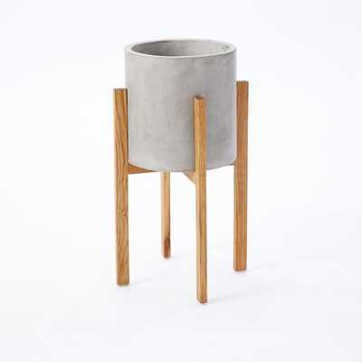 Modern Wood Leg Planter - Cylinder - Tall - West Elm