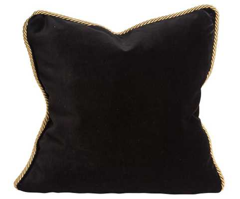 "Colorblock Velvet Pillow Black & White - 18"" x 18"", Down insert included - Society Social"