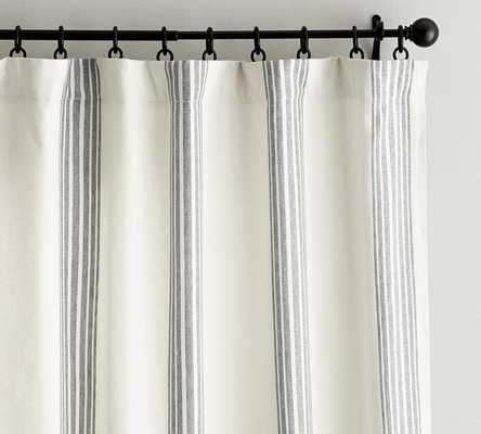 "Riviera Stripe Drape with Blackout Liner - 50 x 96"" - Charcoal - Pottery Barn"
