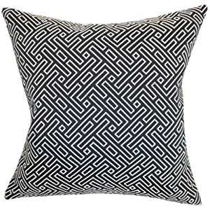 Ocussi Geometric Pillow Navy- Down Insert included - Linen & Seam