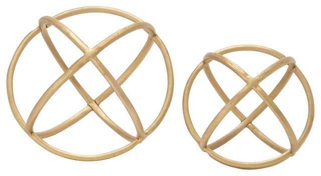 Aluminum Ring Orb Gold - Set of 2 - Houzz