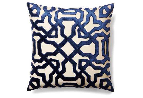 Chase 18x18 Velvet Pillow, chic, Indigo - One Kings Lane