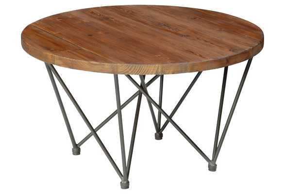 """Bea 32"""" Round Coffee Table, Wood/Silver - One Kings Lane"""