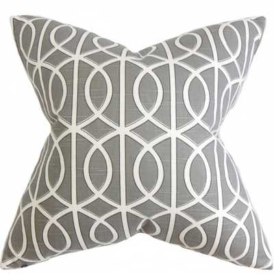 Lior Geometric Pillow Gray White  with down insert - Linen & Seam