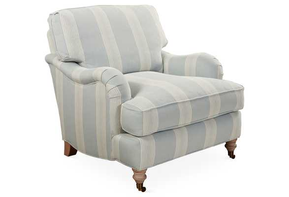 Brooke Club Chair, Blue Stripe, Made in the USA - One Kings Lane