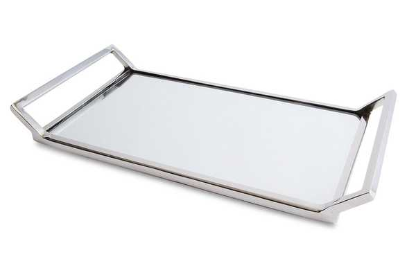 Helena Mirrored Tray, silver - One Kings Lane
