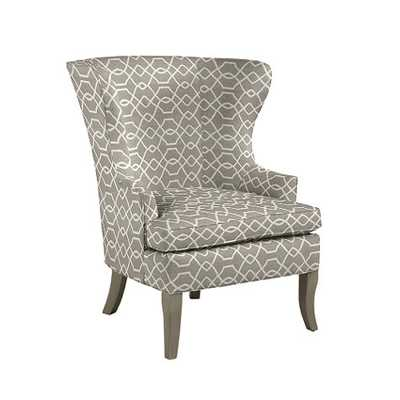 Thurston Wing Chair without Nailheads - Trellis taupe sunbrella, Dove gray - Ballard Designs