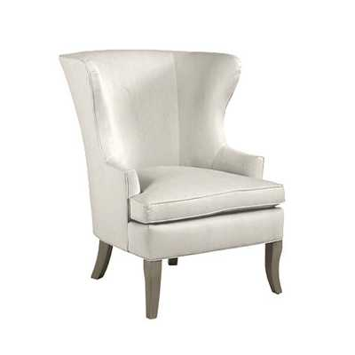 Thurston Wing Chair without Nailheads - Twill Off White, Dove Gray - Ballard Designs