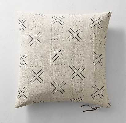 Handwoven African Mud Cloth X Dot Pillow Cover - Natural - RH