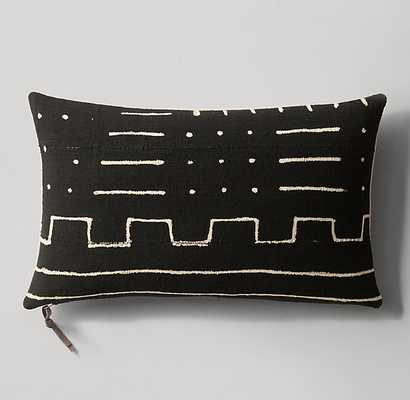 Handwoven African Mud Cloth Varied Pattern Lumbar Pillow Cover - Black/Natural - RH