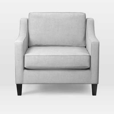 CUSTOM: Paidge Chair - Yarn Dyed Linen Weave, Ice - Taper Chocolate - West Elm
