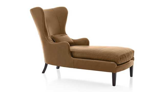 Garbo Leather Chaise Lounge - Chestnut - Crate and Barrel