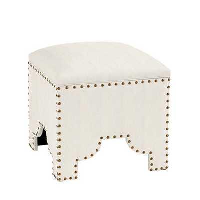 CUSTOM Jasmine Storage Ottoman - Twill Off-White - Ballard Designs