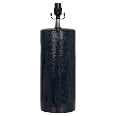 Lamp Base Linen Texture Ceramic Dark Blue (Includes CFL bulb) - Threshold™ - Target