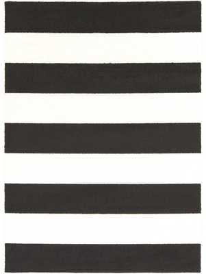 """KENDALL STRIPE RUG, BLACK AND WHITE-7'x10"""" x 10'3"""" - Lulu and Georgia"""