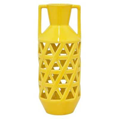 "Three Hands Ceramic Vase - Yellow (16"") - Target"