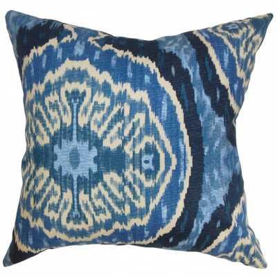 Iovenali Ikat Pillow Blue - Down Insert- 18x18 - Linen & Seam