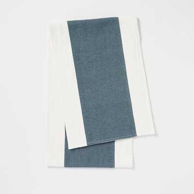 Center Stripe Woven Runner - Blue Lagoon - West Elm