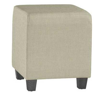 Cooper Upholstered Cube - Trilby Basketweave Natural, Black - Ballard Designs