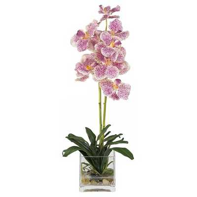 Nearly Natural Vanda with Glass Vase Silk Flower Arrangement Purple - Target