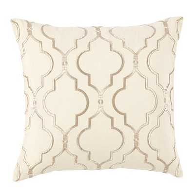 "Firenze Embroidered Pillow-18"" Sq-Ivory-Feather down insert - Ballard Designs"