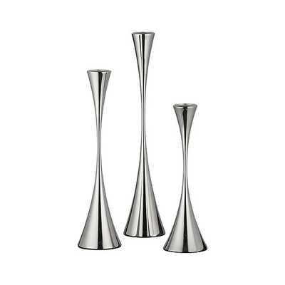 3-Piece Arden Mirrored Stainless Steel Taper Candle Holder Set - Crate and Barrel