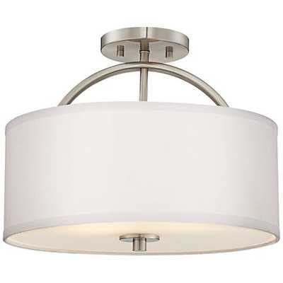 "Halsted Brushed Nickel Semi-Flush 15"" Wide Ceiling Light - Lamps Plus"