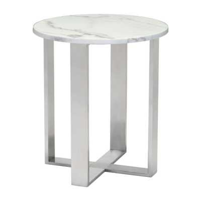 Atlas End Table Stone & Brushed Stainless Steel - Zuri Studios