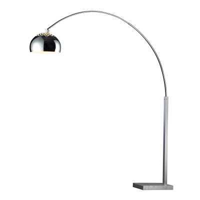D PENBROOK 1-LIGHT FLOOR LAMP SILVER PLATED FINISH W/WHITE MARBLE BASE - Rosen Studio