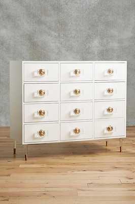 Lacquered Regency Twelve-Drawer Dresser - White - Anthropologie