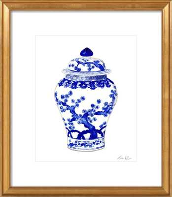 "Blue and White China Ginger Jar Vase with Japanese Landscape - 14""x17"" - Gold leaf wood with Mat - Artfully Walls"