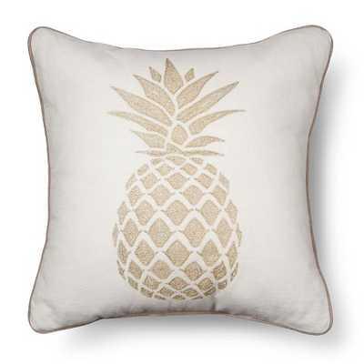 "Gold Pineapple Throw Pillow-18''x 18""- Polyester fill insert - Target"