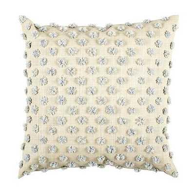Parker Pom Pom Raffia Pillow  - Grey - feather/down insert - Ballard Designs