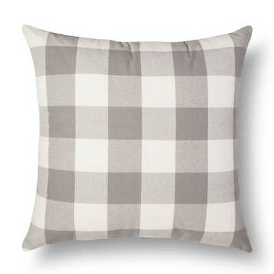 """Threshold â""""¢ Oversized Gingham Throw Pillow-Grey- 24L x 24W-  Polyester fill insert - Target"""
