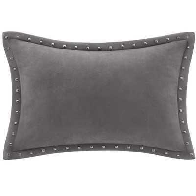"Stud Trim Microsuede Throw Pillow- 14"" H x 20"" W x 5"" D- Gray- Down/Feather fill insert - Wayfair"