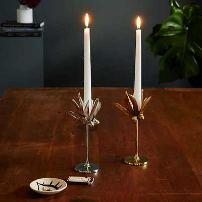 Botanical Taper Holders - Tall, Silver - West Elm
