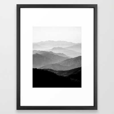 """Mountain Mist - Black and White Collection - 20""""x26"""" - Vector Black Frame - Society6"""