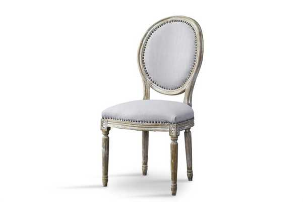 Baxton Studio Clairette Wood Traditional French Accent Chair-Round - Lark Interiors