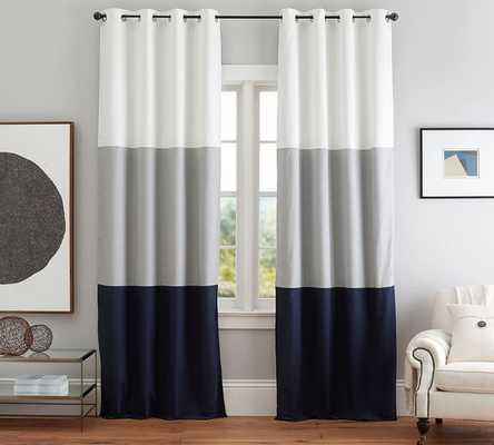 COLOR BLOCK DRAPE WITH POLISHED NICKEL GROMMET, SET OF 2 - Pottery Barn