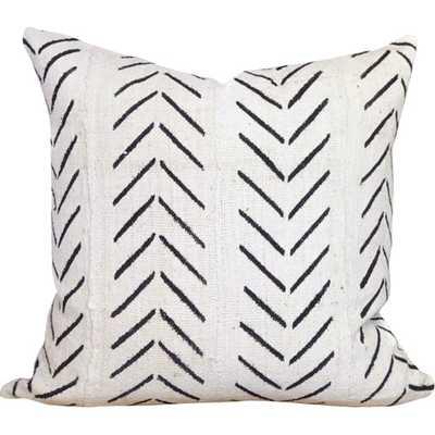 "Chevron Arrow Print African Mud Cloth Pillow Cover 18"" - White - AllModern"