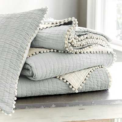 Audree Pom Pom Quilt - King-Spa - Ballard Designs