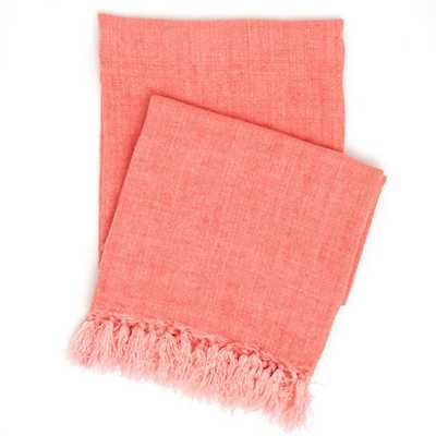 LAUNDERED LINEN CORAL THROW - Pine Cone Hill