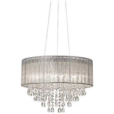 """Possini Euro Metairie 20""""W Silver Fabric Crystal Chandelier - Lamps Plus"""