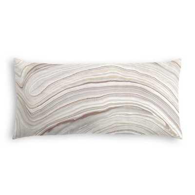"Light Gray Marble Pillow - Marbleous - Quarry - 12"" x 24"" - Down Insert - Loom Decor"