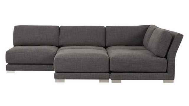 gybson 4-piece earth grey sectional sofa - CB2