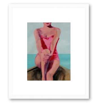 Woman in a Boat - 16x20 Framed (White wood) - Artfully Walls