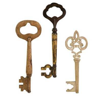 Mason Wood Wall Keys - Set of 3 - Mercer Collection